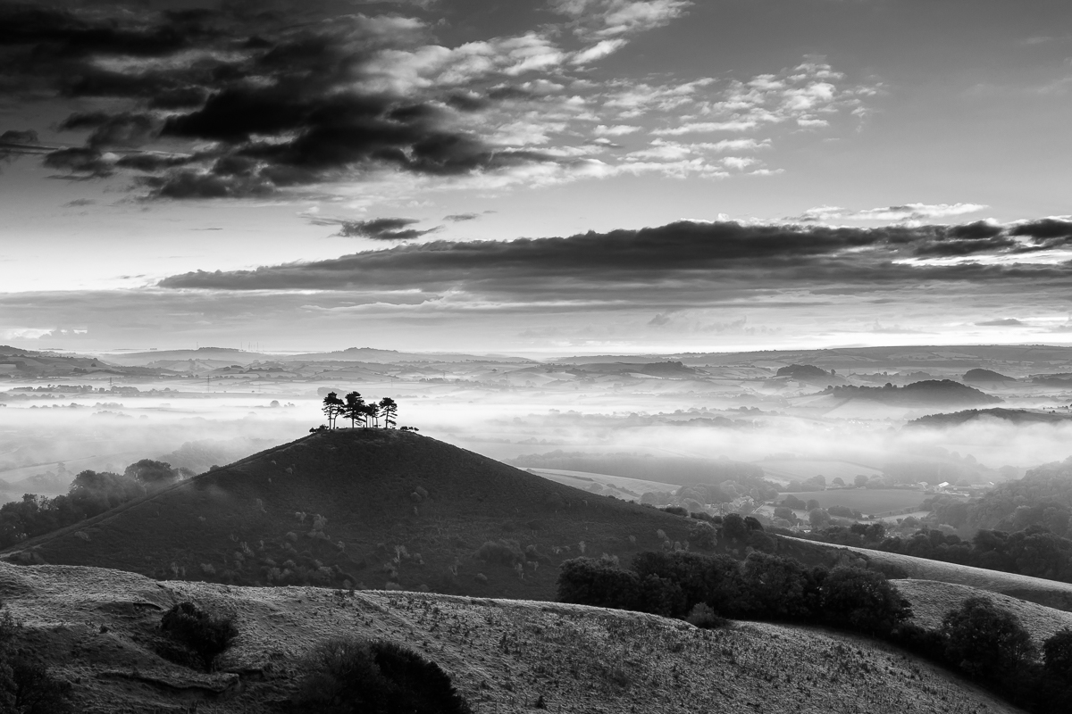 Inland Dorset & Somerset, Autumn mist beyond Colmer Hill